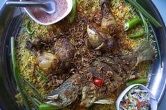 Islam de la comida de la cena del Ramadán del arroz de Biryani, concepto: Comida cocinada deliciosa del hyderabadi para la gente  imagenes de archivo
