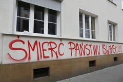 Islam de la pintada e ISIS antis en Kraków fotografía de archivo libre de regalías
