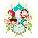 Islam Eid Mubarak Greeting Card Illustration Royaltyfria Bilder