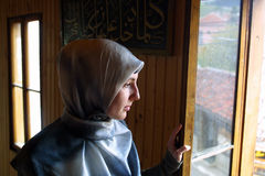 ISLAM IN EUROPE. NOVI PAZAR, SERBIA, 28 APRIL 2002 -  A Moslem woman in the southern Serbian city of Novi Pazar, near the borders of Montenegro, Kosovo and Stock Image