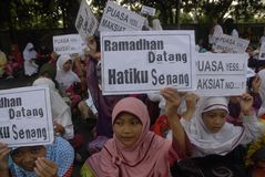 ISLAM FASTEST GROWING RELIGION. Muslim children are welcoming the Islamic holy month of Ramadan, at Solo, Java, Indonesia. A new survey by the US based-Pew royalty free stock photos