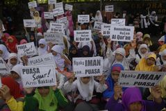 ISLAM FASTEST GROWING RELIGION. Muslim children are welcoming the Islamic holy month of Ramadan, at Solo, Java, Indonesia. A new survey by the US based-Pew royalty free stock images