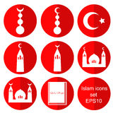 Islam flat icons set vector Royalty Free Stock Photography