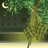 Islam food year ribbon template card Stock Image