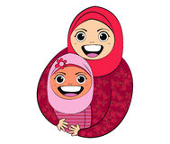 Islam Girl with Mom. Vector Vector Girl with Mom Cartoon Drawing Stock Images