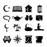 Islam icons set black Stock Image