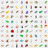 100 islam icons set, isometric 3d style Royalty Free Stock Photography