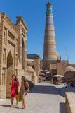 Islam Khodja Minaret and Mosque in Khiva, Uzbekistan Stock Photos