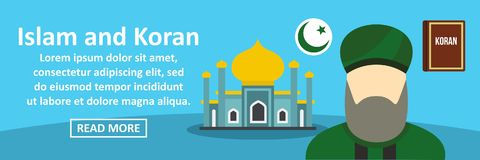 Islam and koran banner horizontal concept. Flat illustration of islam and koran banner horizontal vector concept for web Stock Photos
