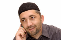 Islam man and mobile stock photos