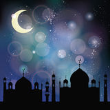 Islam,musulma blurred bokeh background.Mosque,moon.Blue Royalty Free Stock Photo
