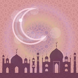 Islam,musulma pattern background.Mosque,moon.Lilac Stock Photography