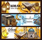 Islam Ramadan lantern, muslim mosque and Koran. Islam religion Ramadan Kareem, muslim sacred Koran book and muslem mosque sketches.Crescent moon, arabian lantern stock illustration