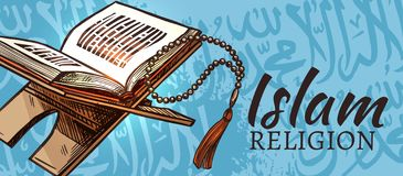 Islam religia, koranu Muzułmański religijny symbol ilustracji