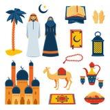Islam religion flat icons set Royalty Free Stock Image