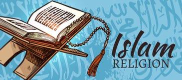 Islam religion, Quran Muslim religious symbol. Islam religion Quran book and prayer beads with Arabic calligraphy writing pattern. Vector Muslim religious stock illustration