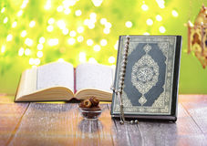Islam Religion Traditional Objects, Ramadan Concept. Islam Religion Traditional Objects over Green Defocused Lights, Ramadan Concept Stock Photography