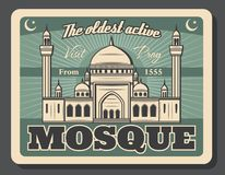 Islam religious poster to Muslim mosque visit. Islam culture and Mosque visit advertisement retro poster for halal tourism and religious tours. Vector vintage stock illustration