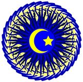 Islam symbol on an artistic blue decoration Royalty Free Stock Image