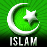 Islam Symbol Green Burst Stock Photo