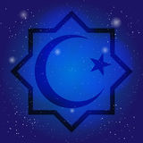 Islam symbol, octagon with crescent and star on the deep blue sky. Design for islamic festival, holyday. Sacral symbol. In cosmic background Stock Images