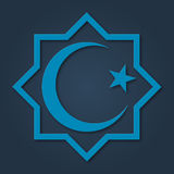 Islam symbol, octagon with crescent and star. Design for islamic festival, holyday. Islam symbol, octagon with crescent and star. Design for islamic festival Royalty Free Stock Image