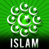 Islam Symbols Green Sun Beams Stock Photography