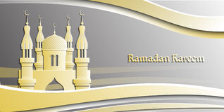 Islam vector illustration for Ramadan Kareem. Beautiful traditional greeting card. Islamic background. Decorated by layers of paper cutting frames. banner vector illustration