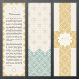 Islam vintage luxury cards. Vector set of ornate in ethnic design. Gold labels with place for text. Eastern floral frame Stock Photos