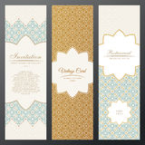 Islam vintage luxury cards. Vector set of ornate in ethnic design. Gold labels with place for text. Eastern floral frame. Islam vintage luxury cards. Vector set vector illustration