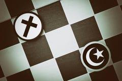 Islam vs kristendomen royaltyfri fotografi