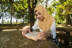 Islam woman read a book Royalty Free Stock Photo