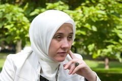 Islam woman in thinking Stock Photos