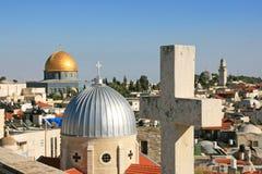 Islam y cristianismo en Jerusalén Imagen de archivo libre de regalías