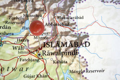 Islamabad Pakistan. Islamabad, capital of Pakistan on a map with a red pin. In the map is also Abbottabad, the city where Osama Bin Laden was killed stock photography