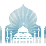 Islamachtergrond Moskee, boog, hemel, wolken dag vector illustratie