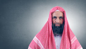 Islamic Arabian Sheikh with beard stock image