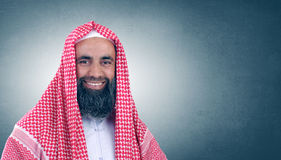 Islamic Arabian Sheikh with beard smiling Royalty Free Stock Images