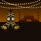 Islamic Arabian style lantern and lights Stock Images
