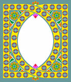Islamic and Arabic frame pattern with space for text. Geometric. Abstract Oriental motif. Muslim decorative rug. Vector background illustration royalty free illustration