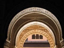 Islamic Arch. Arch in the Alhambra Palace in Granada, Spain Royalty Free Stock Photo