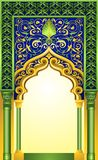 Islamic arch design in elegant emerald and gold color with high detailed floral ornaments vector illustration