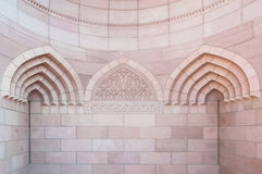 Islamic architecture of the Sultan Qaboos Mosque, Muscat, Oman Royalty Free Stock Photography
