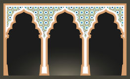 Islamic arcs with arabic mosaic pattern. Mosque columns  Stock Images