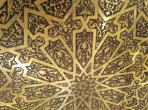 Golden Arabian Oriental Artistic Ornamental carvings royalty free stock photography