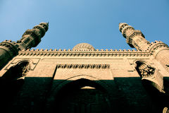 Mosque in egypt. Islamic art of famous old ancient mosque in cairo in egypt with blue sky Royalty Free Stock Photography