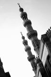 Old mosque in egypt cairo. The islamic art in old cairo in egypt in black and white Royalty Free Stock Photo