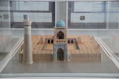 Scale model of Kalyan Mosque of Bukhara in Islamic Art Musium stock photo