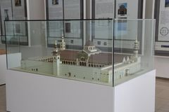 Exhibit of scale model of The Great Umayyad Mosque in Islamic Art Musium stock images