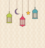 Islamic Background with Arabic Hanging Lamps for Ramadan Kareem Stock Images